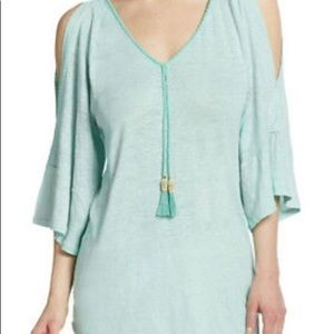 Calypso St Barth Green Cold Shoulder Linen Tee Top